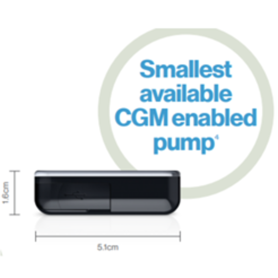 The smallest available CGM enabled insulin pump